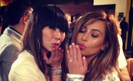 Kim and Friend Kiss