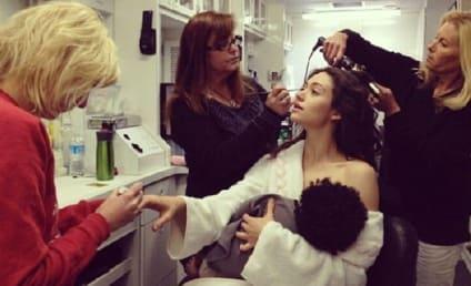 Emmy Rossum Mocks Gisele Bundchen Breastfeeding Photo on Shameless Set