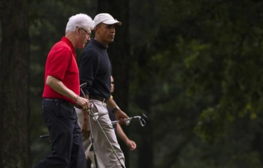 Clinton and Obama Golfing
