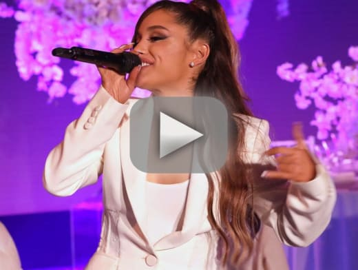 Ariana grande performs thank u next for first time nearly falls