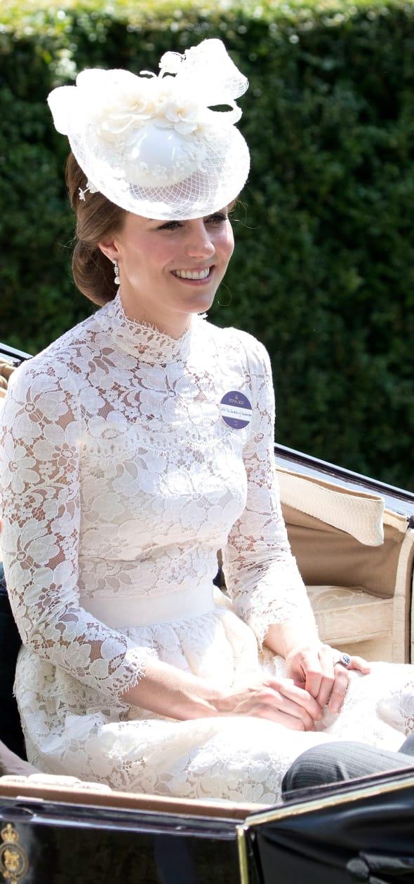 Kate Middleton Sitting in White
