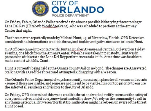 Orlando PD Lana Del Rey Stalker Arrest Press Release