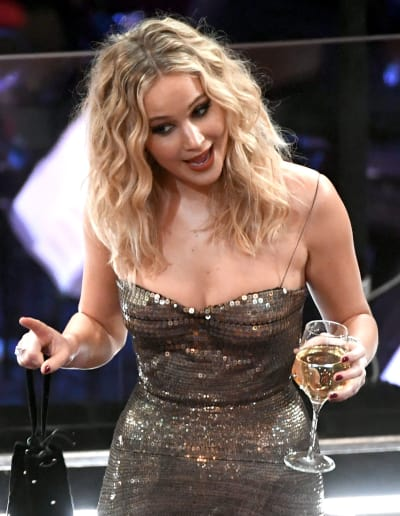 Jennifer Lawrence with Wine