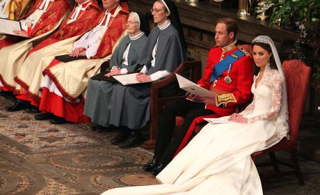 William and Catherine Sit During Their Wedding Ceremony