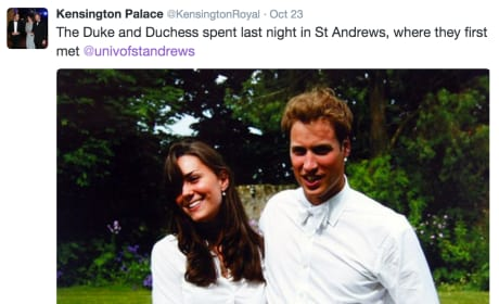 William and Kate's University Throwback Tweet