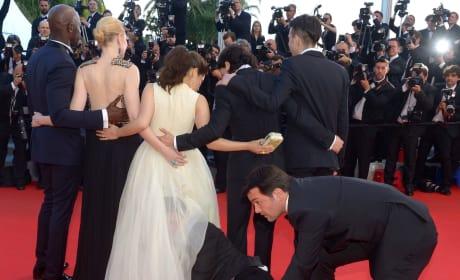 Guy Crawls Inside America Ferrera's Dress