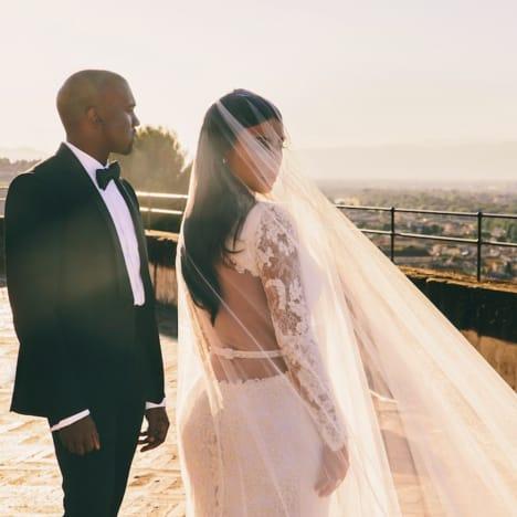 Kim and Kanye Wedding Pic