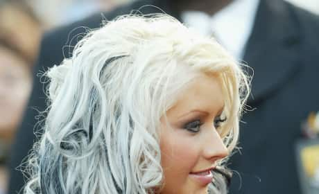 Christina Aguilera Black and Blonde Hair