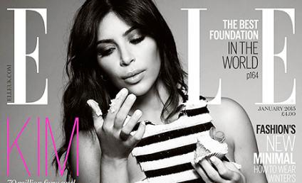 Kim Kardashian Exudes Konfidence, Eats Kupcake on ELLE UK Kover