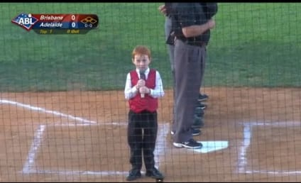 Young Boy Sticks It to Hiccups, Sings National Anthem