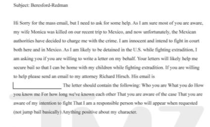 Bruce Beresford-Redman to Friends: Help!