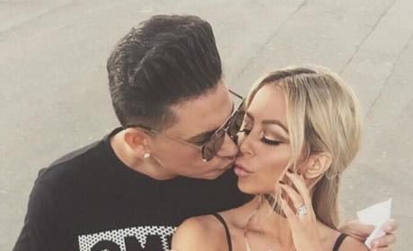 Aubrey O'Day Pauly D Holds Selfie Stick Kiss