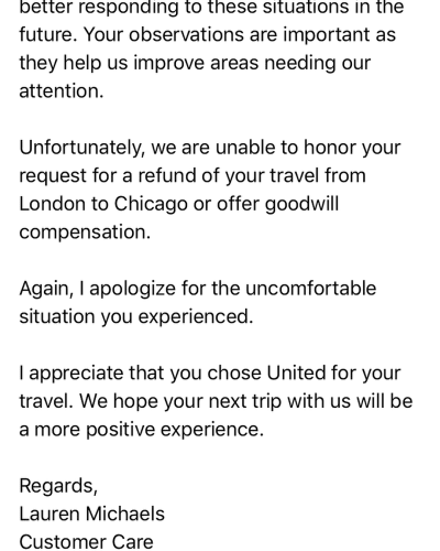 united airlines reply july 2018