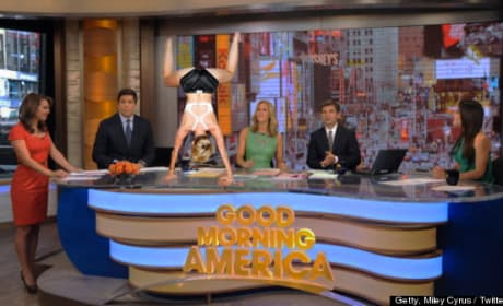 Miley Cyrus on GMA Set (Sort Of)