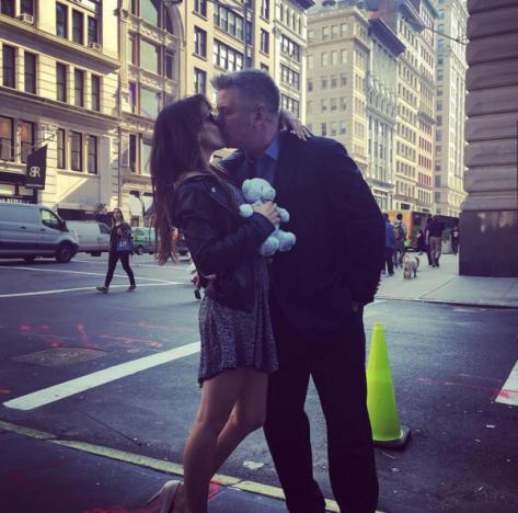 Alec and Hilaria Baldwin kissing