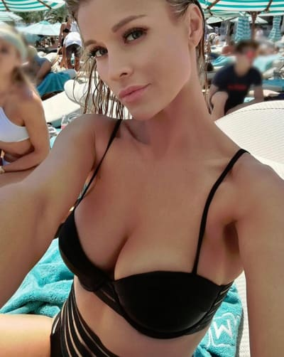 Joanna Krupa in a Black Bikini