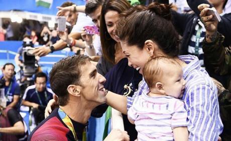 Nicole, Michael and Boomer Phelps Photo