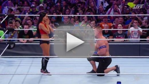 Nikki bella and john cena watch the wrestlemania proposal
