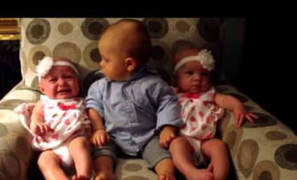 Confused Baby Sits Alongside Twins, Is Blown Away by Similarities