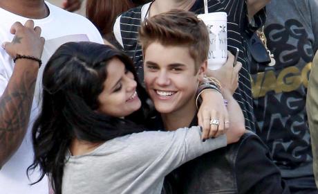 Selena and Justin Hug