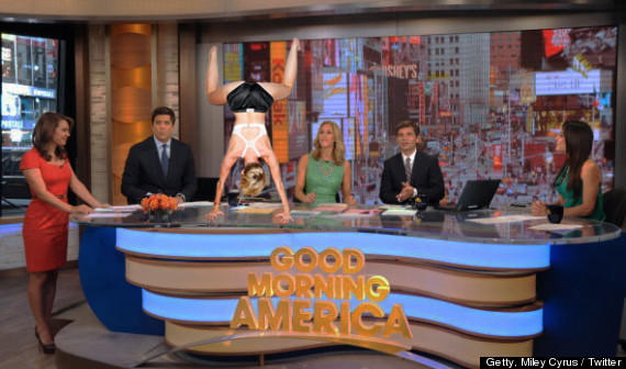 Miley Cyrus on GMA Set (Sort Of)