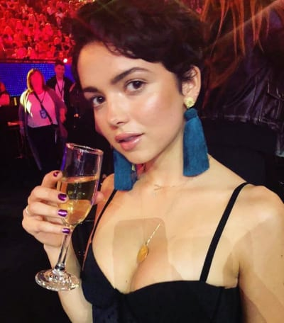 Bekah Martinez Drinks Champagne