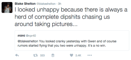 Blake Shelton Tweet - Paparazzi Feb 2016