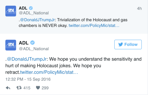 anti defamation league tweet
