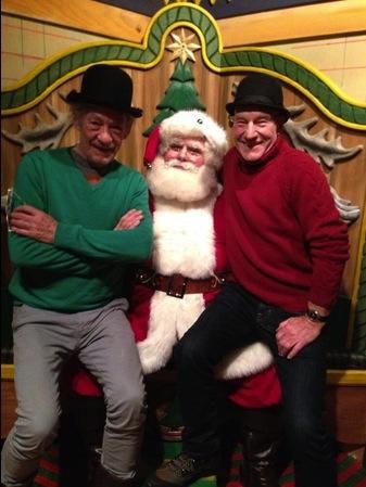 Patrick Stewart, Ian McKellan and Santa