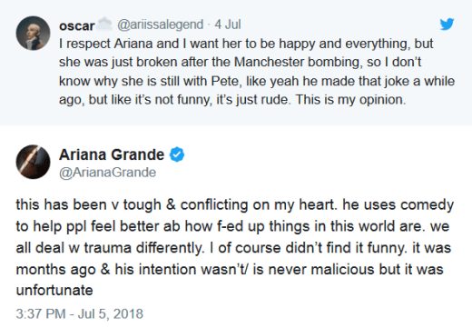 Ariana Grande Speaks Out on Pete Davidson Joke
