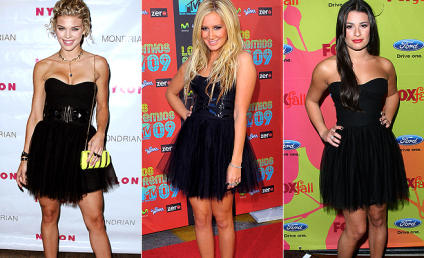 AnnaLynne McCord vs. Ashley Tisdale vs. Lea Michele: A Battle of Black-Dressed Beauties!