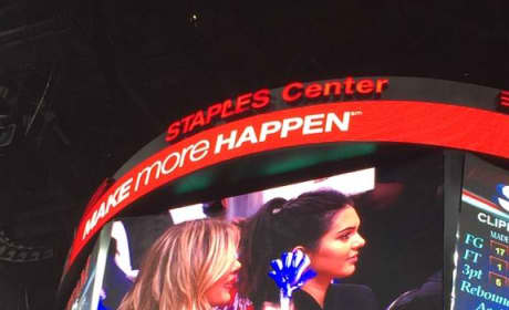Khloe and Kendall at the Clippers Game