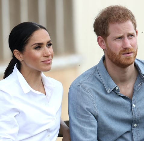 Meghan Markle and Prince Harry on a Bench
