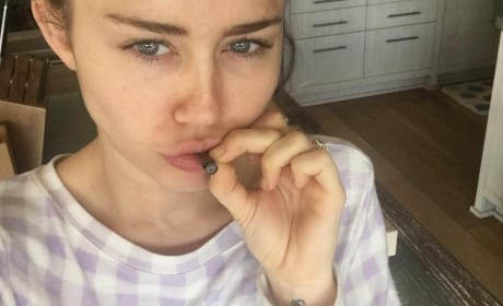 Miley Cyrus Smokes on Instagram