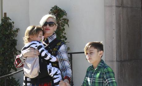 Gwen Stefani Leaves Church With Her Sons Apollo and Kingston