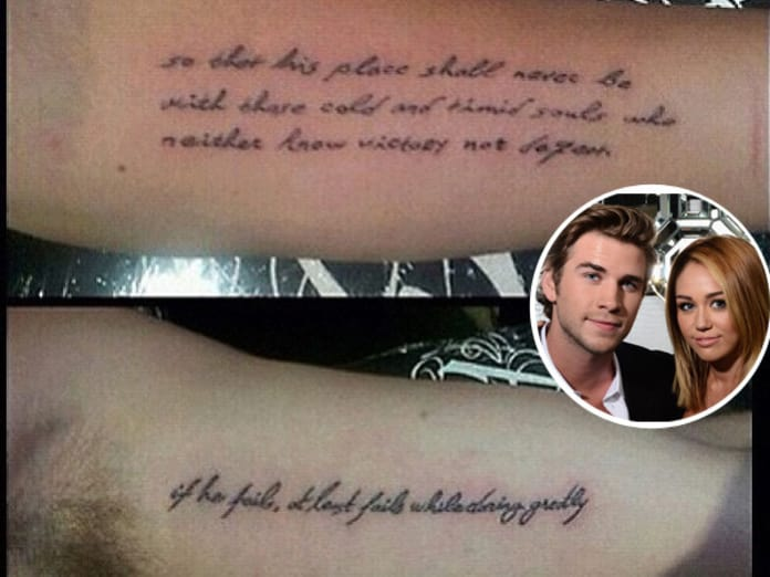 Miley Cyrus And Liam Hemsworth Get Matching Tattoos The Hollywood Gossip