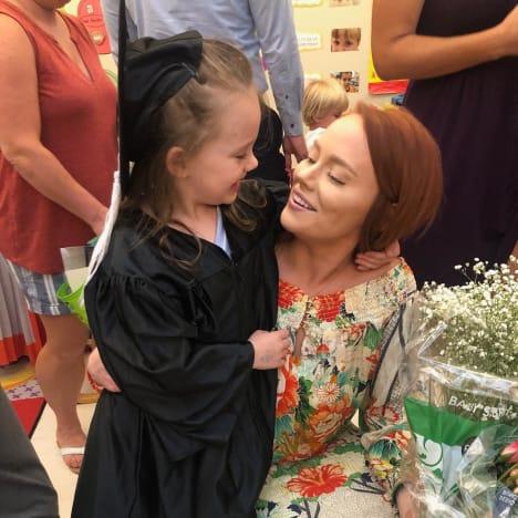 Kathryn Dennis and Kensie Ravenel at Preschool Graduation