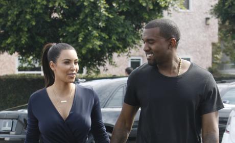 Kanye West and Kim Kardashian in Beverly Hills