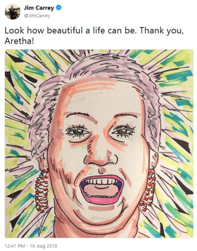 Jim Carrey Paints Aretha Franklin