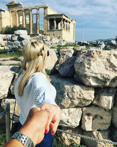 Lesley Cook and David Beador Hold Hands in Greece