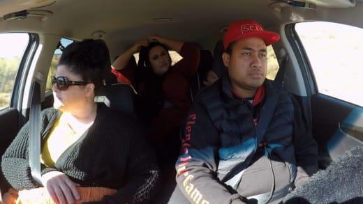Kalani Faagata and Asuelu Pulaa and Kalani's mom in the car