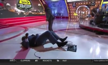 Shaquille O'Neal Falls on TNT Set