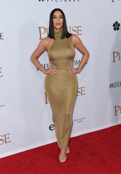Kim Kardashian in Gold Dress