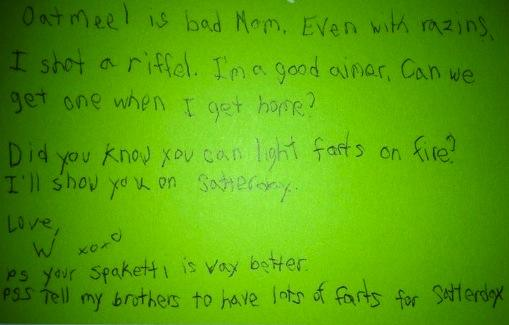 Kid Note From Camp, Part 3