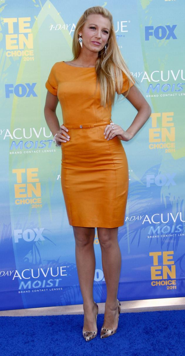 Blake Lively, Orange Dress