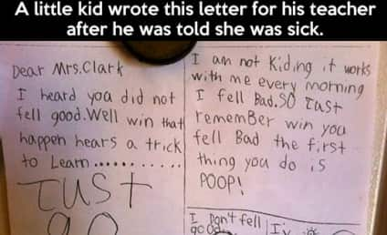 Kid Writes Get-Well Note to Teacher, Offers Helpful Health Advice