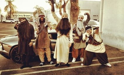 Chris Brown Dresses as Islamic Terrorist For Rihanna Halloween Party