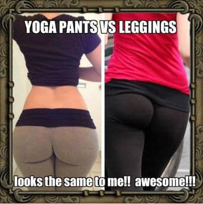 Yoga pants and slash or leggings