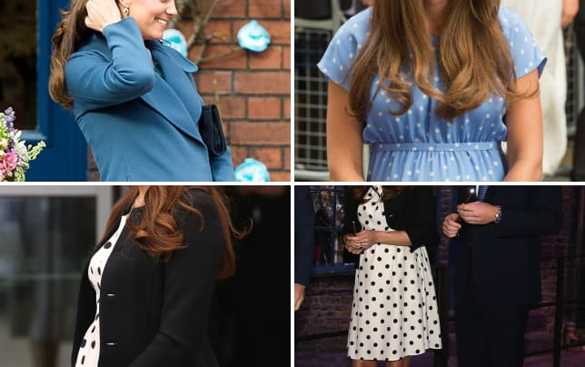 Kate middleton baby bump blue coat