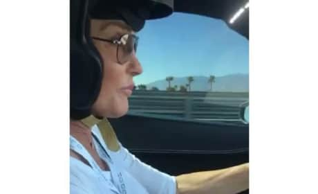Caitlyn Jenner Driving a Race Car